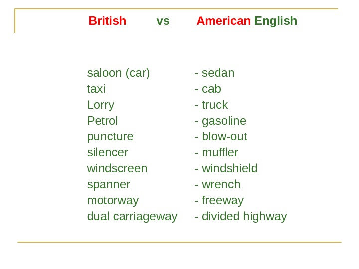 British  vs   American English saloon (car) - sedan