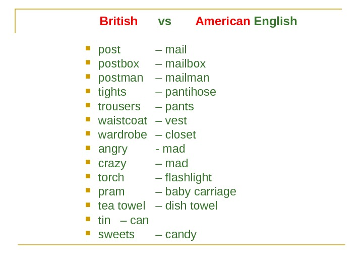 British   vs   American English post – mail postbox