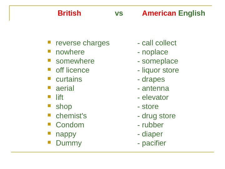 British    vs  American English reverse charges