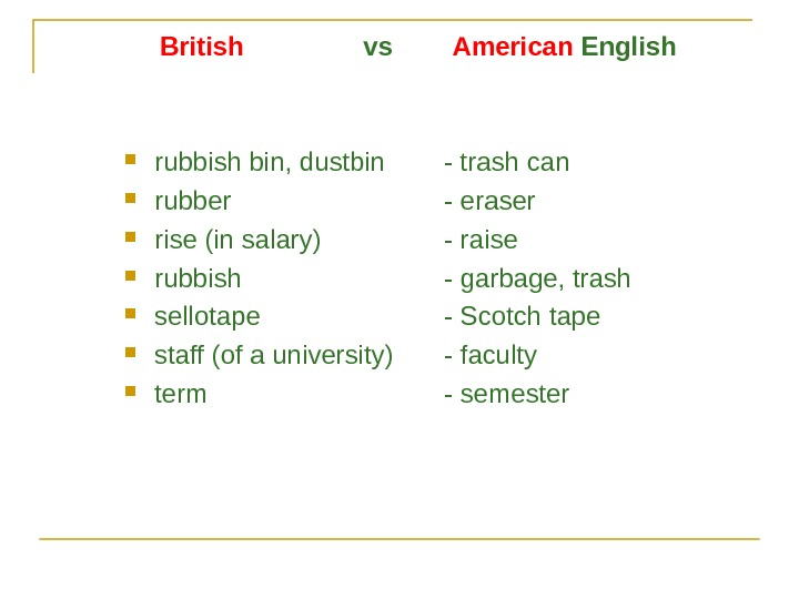British    vs   American English rubbish bin, dustbin