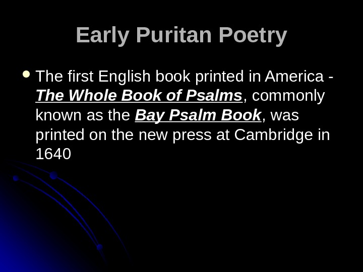 Early Puritan Poetry The first English book printed in America - The Whole Book of Psalms