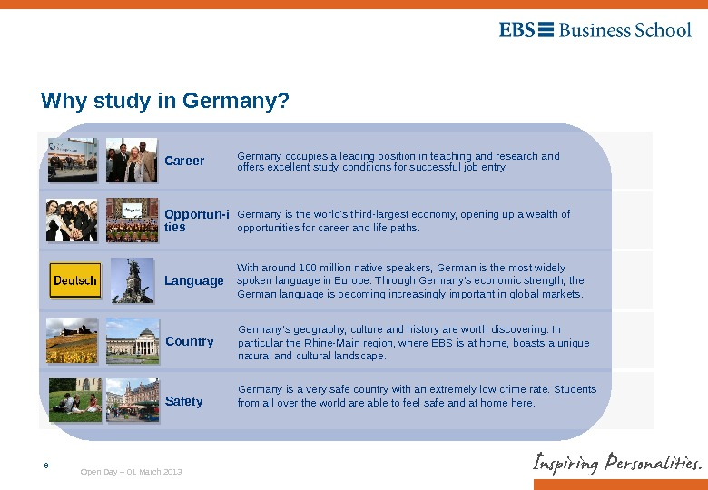 Open Day – 01 March 20136 Why study in Germany? Country Germany's geography, culture and history