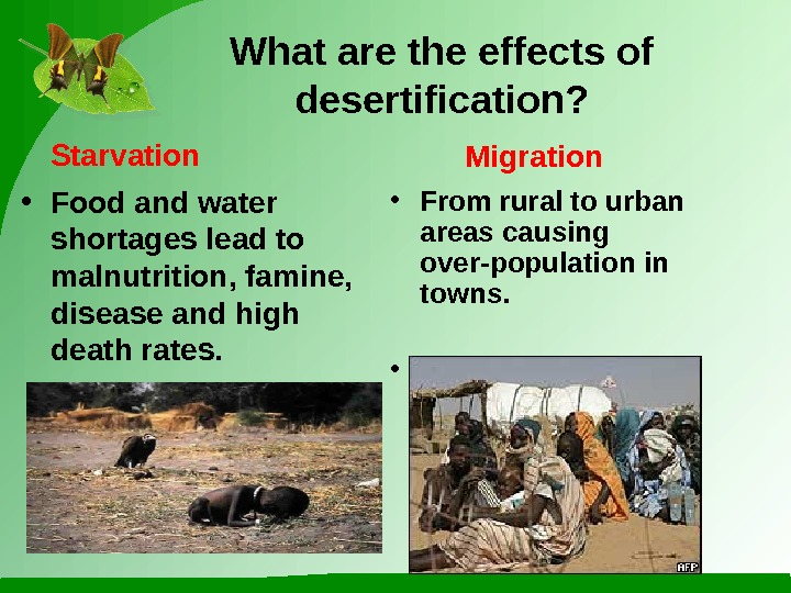 What are the effects of desertification?  • Food and water shortages lead to malnutrition, famine,