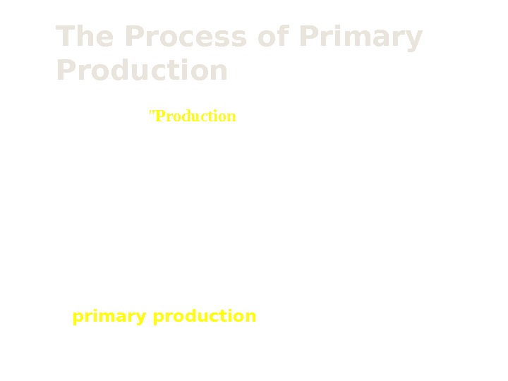 The Process of Primary Production • The general term  Production  is the creation of