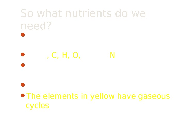 So what nutrients do we need?  Macro-nutrients are needed in large quantities Na, Cl ,
