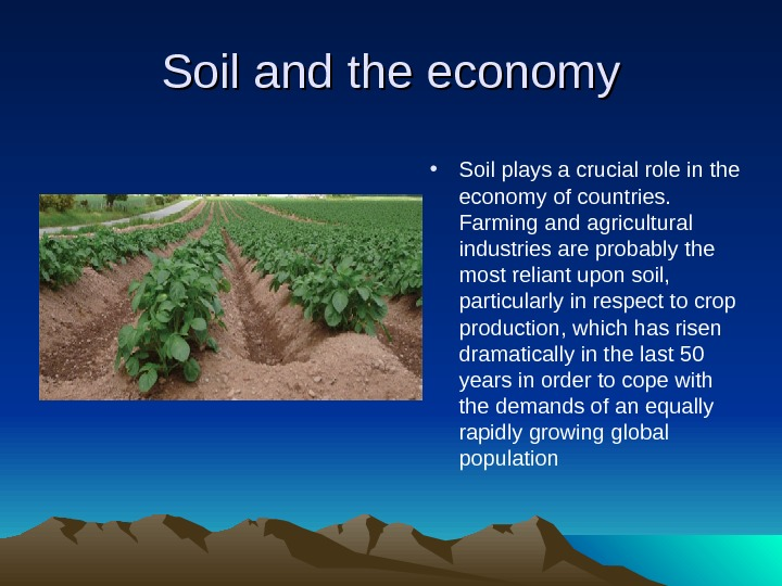 Soil and the economy • Soil plays a crucial role in the economy of countries.