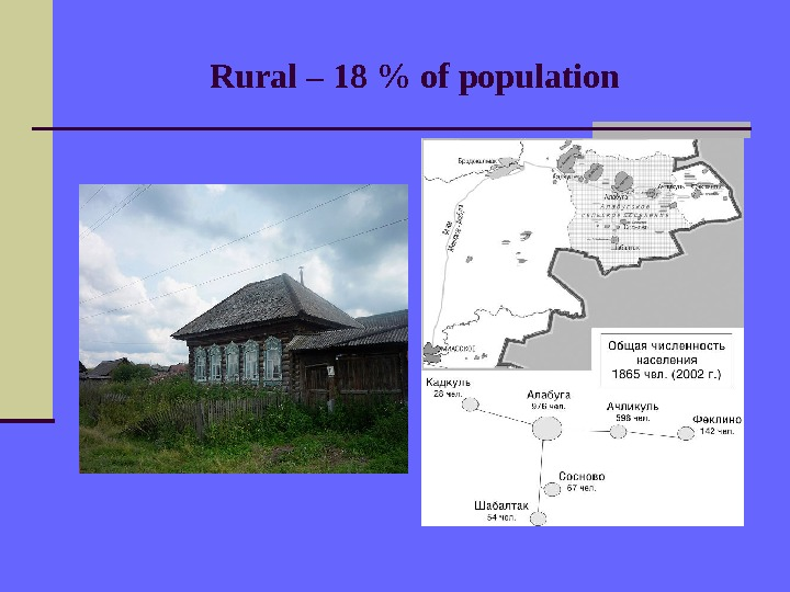 Rural – 18  of population