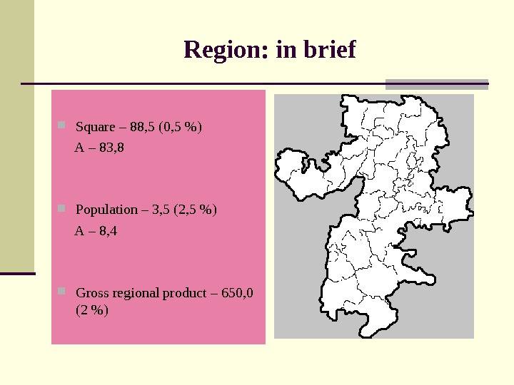Region: in brief Square – 88, 5 (0, 5 )  А – 83, 8 Population