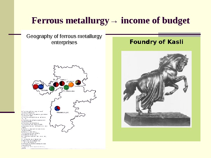 Ferrous metallurgy → income of budget Foundry of Kasli. Geography of ferrous metallurgy enterprises