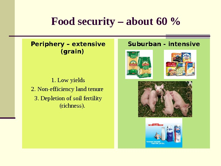 Food security – about 60  Periphery – extensive (grain) 1.  Low yields 2.