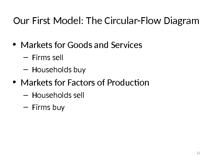 Our First Model: The Circular-Flow Diagram • Markets for Goods and Services –  Firms sell