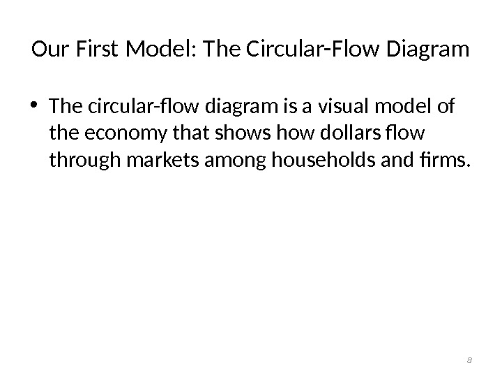Our First Model: The Circular-Flow Diagram • The circular-flow diagram is a visual model of the