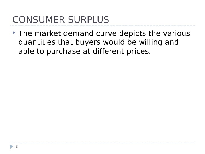 CONSUMER SURPLUS The market demand curve depicts the various quantities that buyers would be willing and
