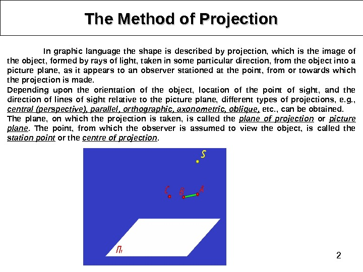 2 The Method of Projection In graphic language the shape is described by projection,  which