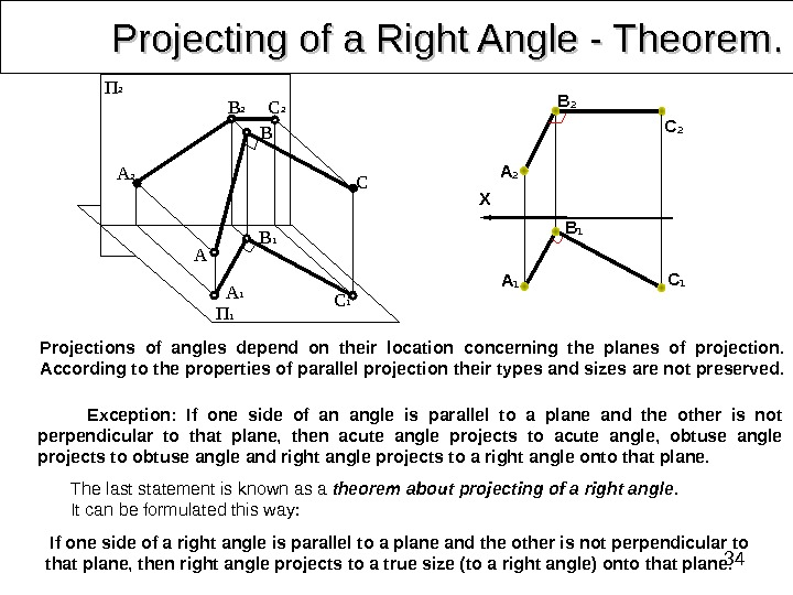 34 Projecting of a Right Angle - Theorem. . Exception:  If one side of an