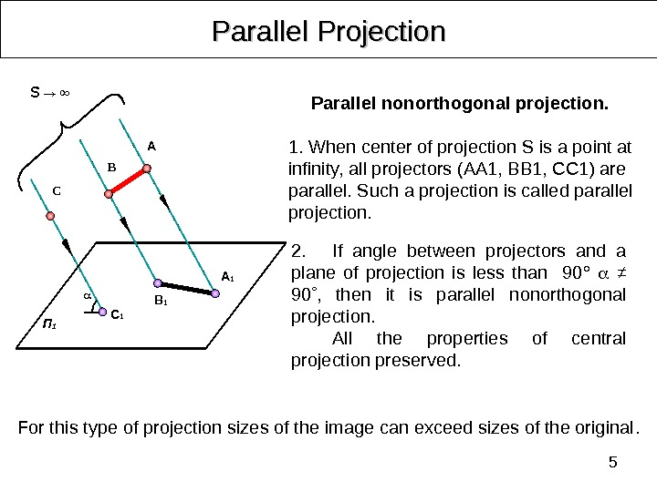 5 Parallel Projection 2. If angle between projectors and a plane of projection is less than