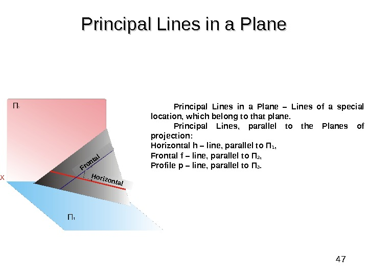 47 Principal Lines in a Plane – Lines of a special location, which belong to that