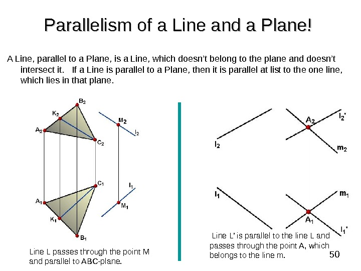 50 Parallelism of a Line and a Plane!  A Line, parallel to a Plane, is
