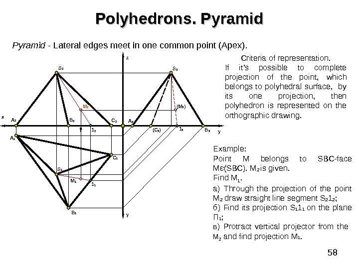 58 Polyhedrons. Pyramid  - Lateral edges meet in one common point (Apex). B 1 y.