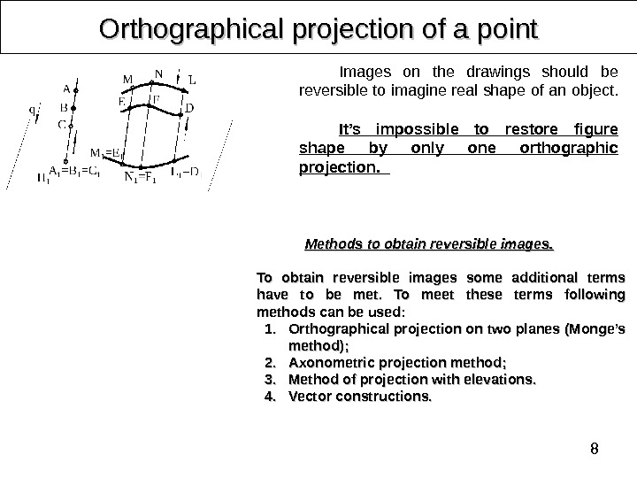 8 Orthographical projection of a point Images on the drawings should be reversible to imagine real