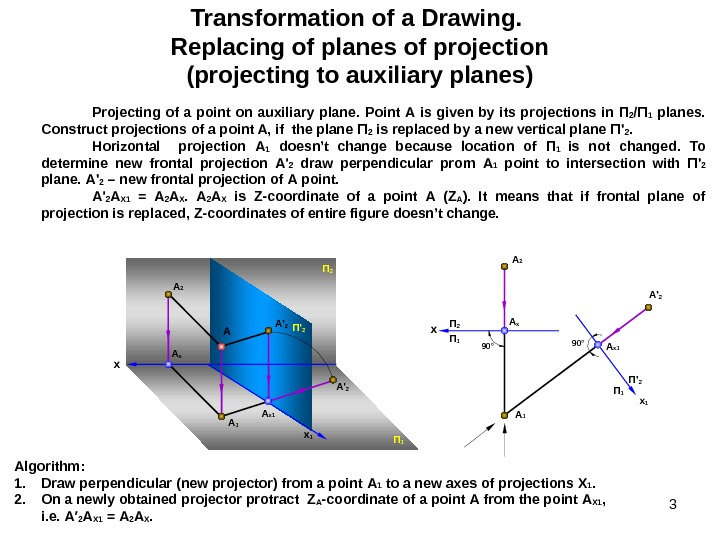 3 Transformation of a Drawing. Replacing of planes of projection (projecting to auxiliary planes) Projecting of