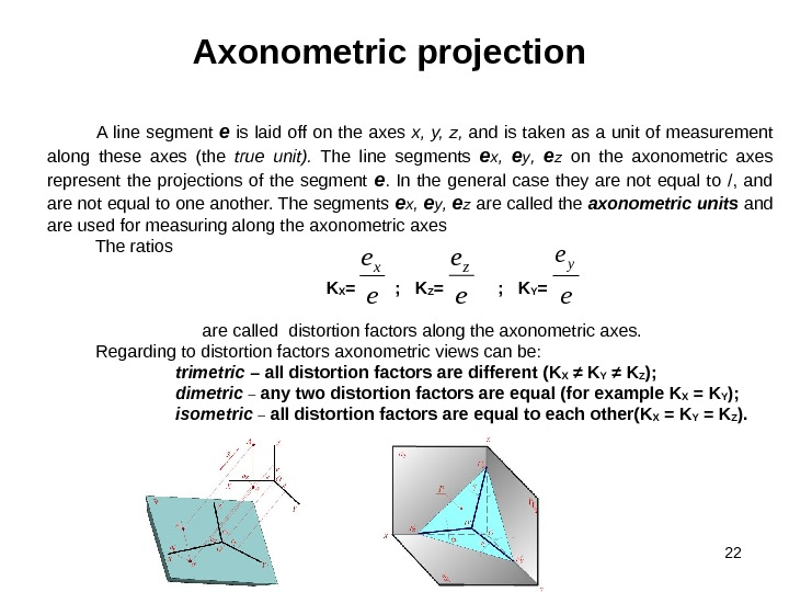 22 Axonometric projection  A line segment e  is laid off on the axes x,
