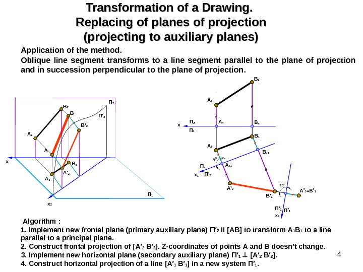 4 Transformation of a Drawing.  Replacing of planes of projection (projecting to auxiliary planes) Application