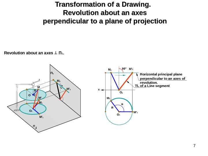 7 Transformation of a Drawing.  Revolution about an axes perpendicular to a plane of projection