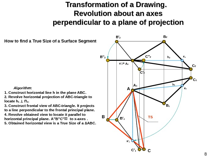 8 Transformation of a Drawing.  Revolution about an axes perpendicular to a plane of projection