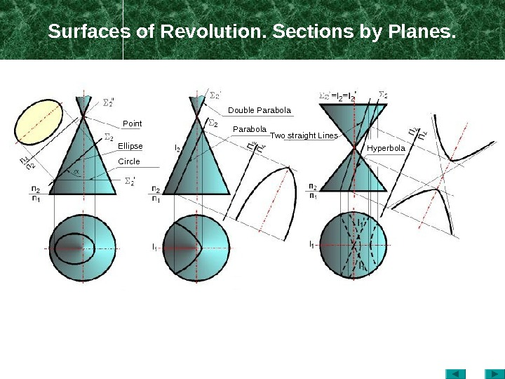 Surfaces of Revolution. Sections by Planes. Point Ellipse Circle Double Parabola Two straight Lines Hyperbola
