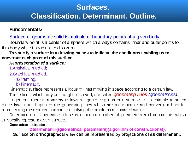 Surfaces.  Classification.  Determinant.  Outline. Fundamentals :  Surface of geometric solid is multiple