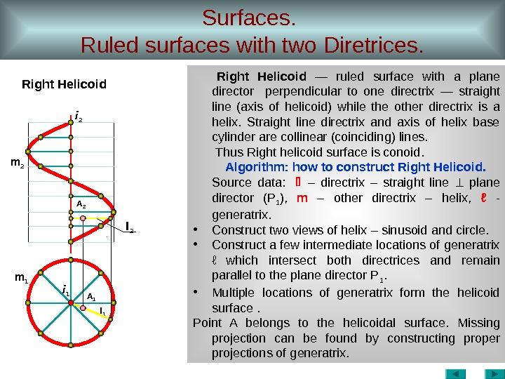 Surfaces.  Ruled surfaces with two Diretrices. Right Helicoid  — ruled surface with a plane