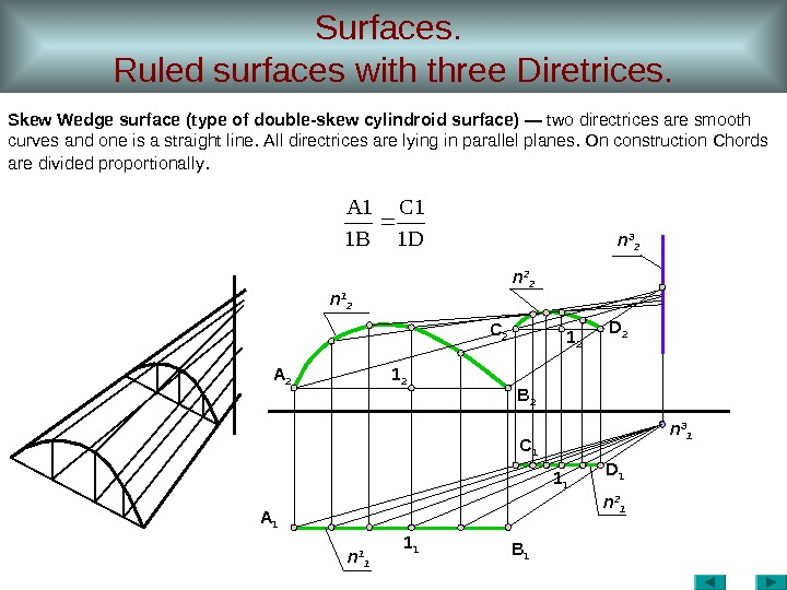 Surfaces.  Ruled surfaces with three Diretrices. Skew Wedge surface ( type of  double-skew