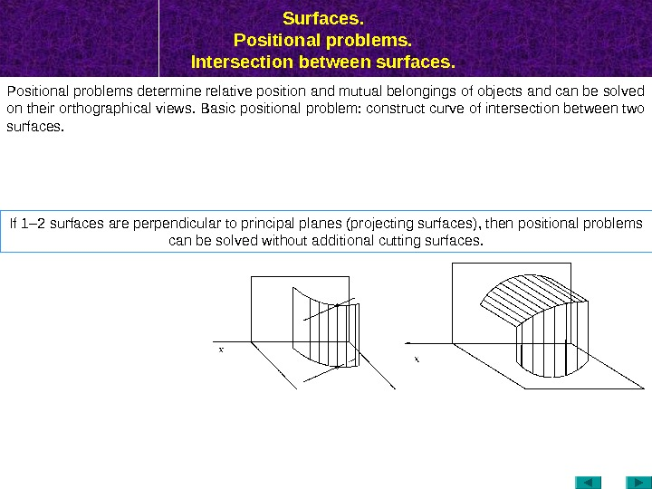 Surfaces.  Positional problems.  Intersection between surfaces.  Positional problems determine relative position and mutual