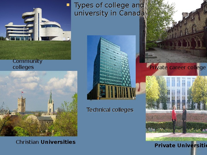 Technical colleges Types of college and university in Canada Christian  Universities. Community colleges Private career