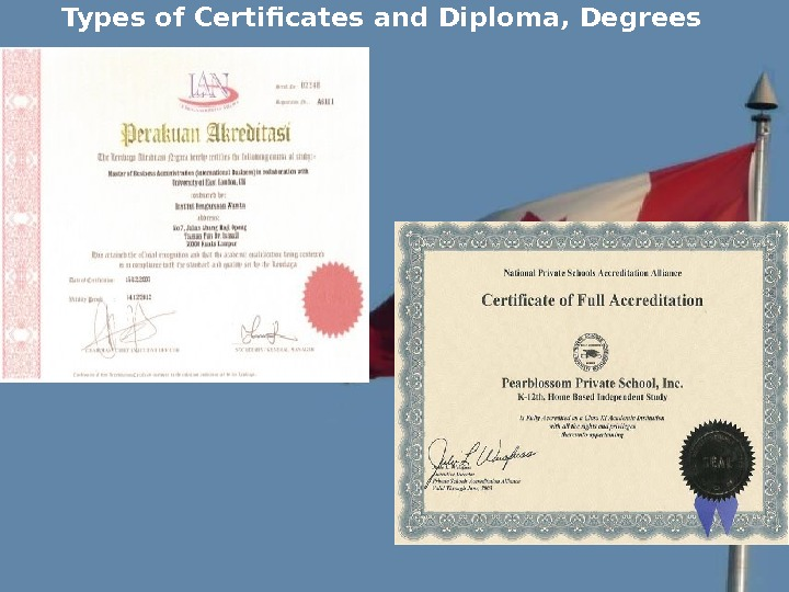 Types of Certificates and Diploma, Degrees