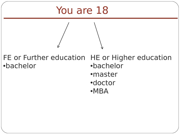 FE or Further education  • bachelor You are 18 HE or Higher education • bachelor