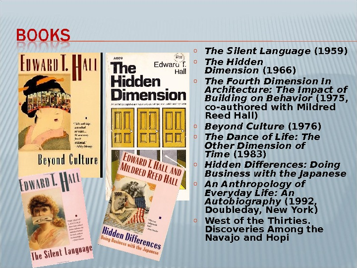 o The Silent Language (1959) o The Hidden Dimension (1966) o The Fourth Dimension In Architecture: