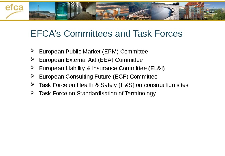 EFCA's Committees and Task Forces European Public Market (EPM) Committee European External Aid (EEA) Committee