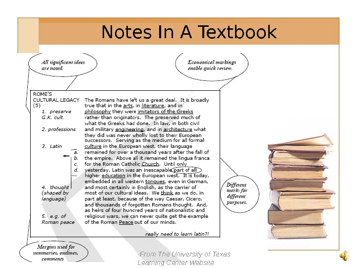 -From The University of Texas Learning Center Website. Notes In A Textbook
