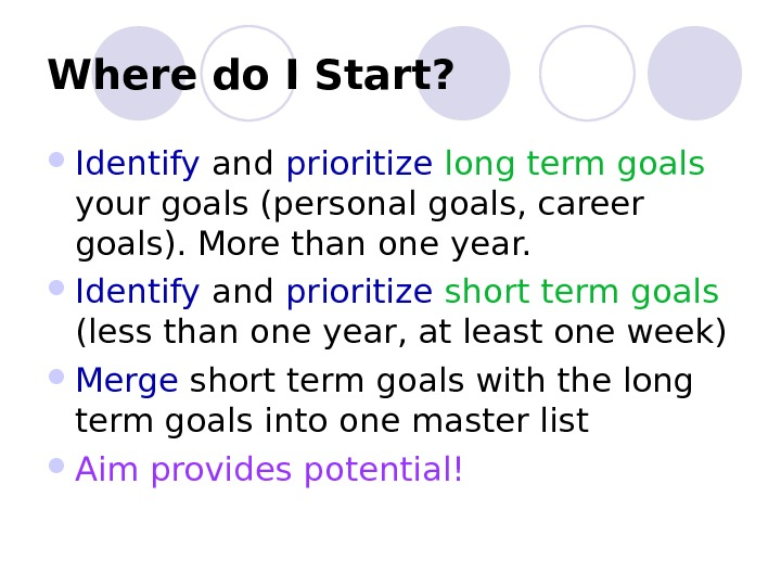 Where do I Start ?  Identify and prioritize  long term goals  your goals