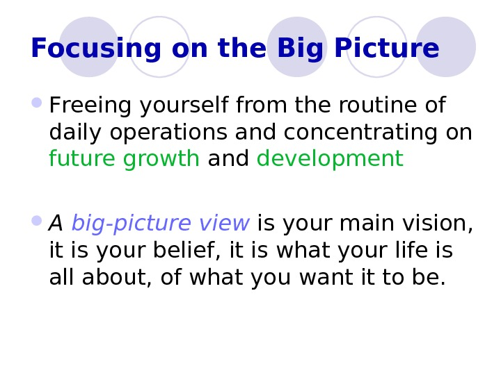Focusing on the Big Picture F reeing yourself from the routine of daily  operations and