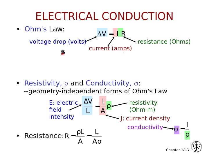 Chapter 18 - 3 •  Ohm's Law:  V = I R voltage drop