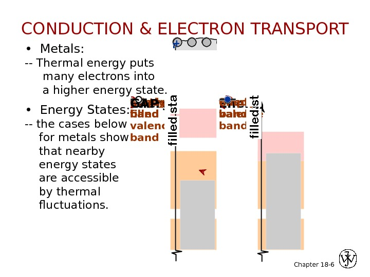 Chapter 18 - 6 •  Metals: -- Thermal energy puts  many electrons into