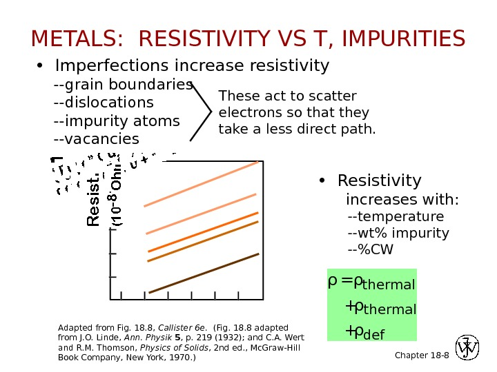 Chapter 18 - •  Imperfections increase resistivity --grain boundaries --dislocations --impurity atoms --vacancies 8