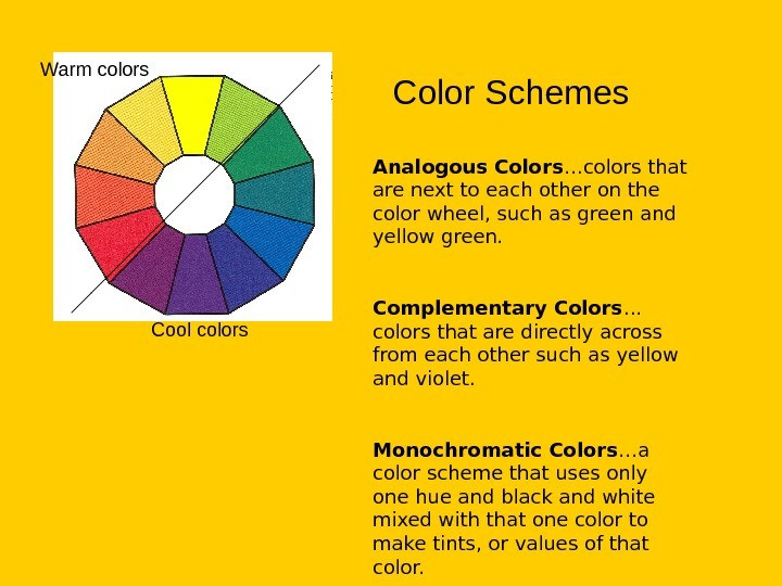 Color Schemes Analogous Colors …colors that are next to each other on the color