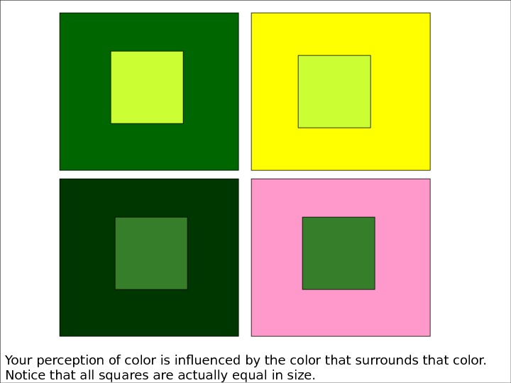 Your perception of color is influenced by the color that surrounds that color.