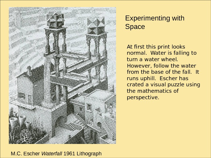 Experimenting with Space M. C. Escher Waterfall 1961 Lithograph At first this print looks