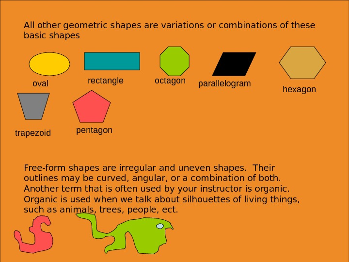 All other geometric shapes are variations or combinations of these basic shapes oval rectangle