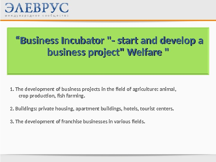 """"" Business Incubator - start and develop a business project Welfare  1. The development"